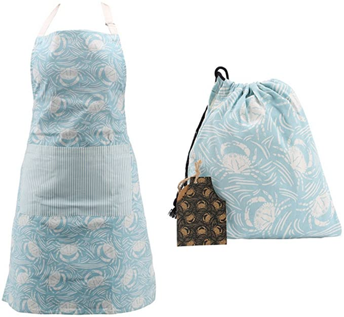 Harbour blue crab apron with gift bag