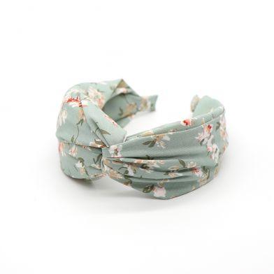 Aqua fabric headband with vintage floral print By POM