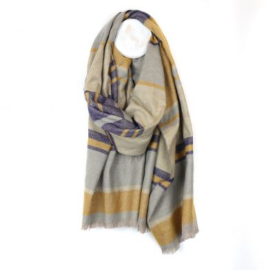 Denim blue, mustard and gold striped scarf with lured (Pom)