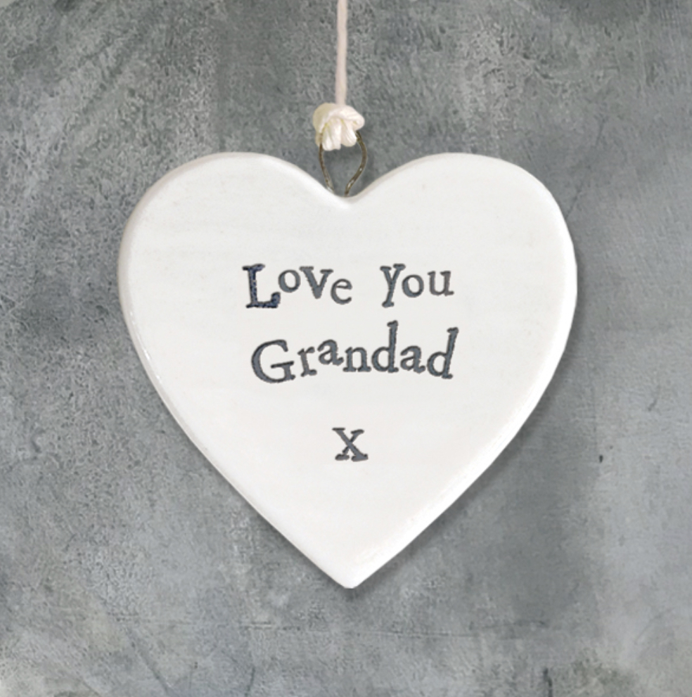 Hanging ceramic heart - love you grandad by east of India.