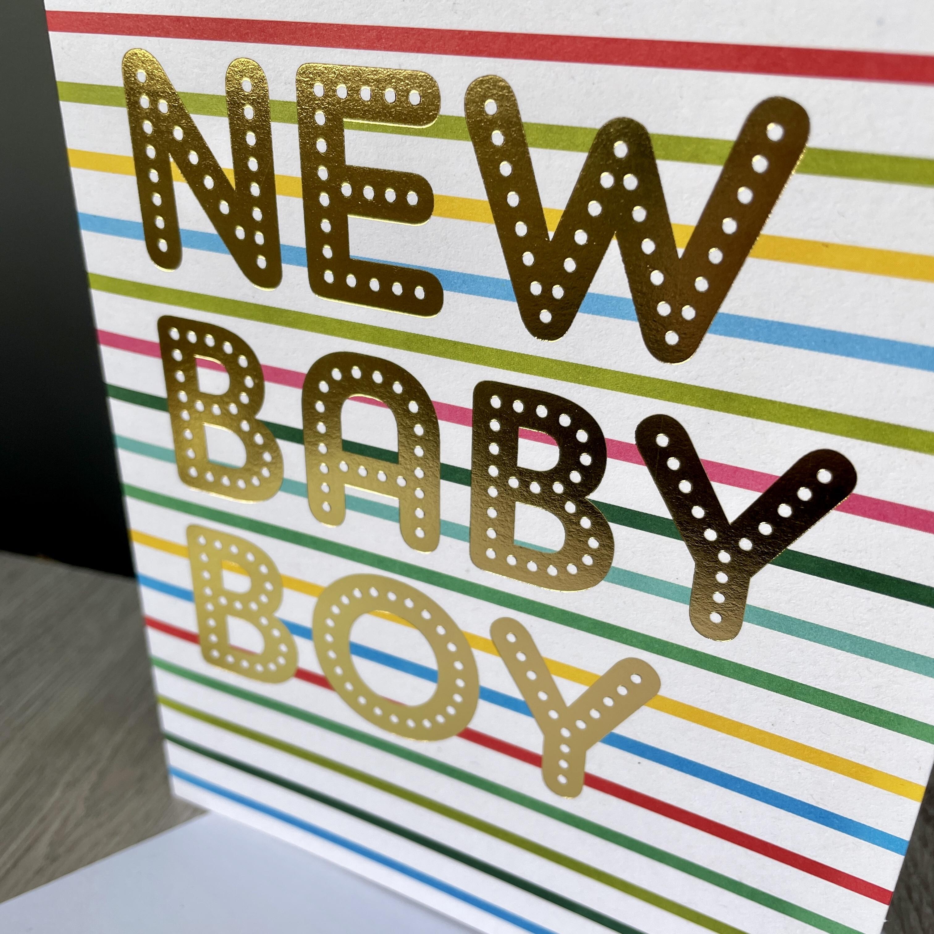 New baby boy card . Striped