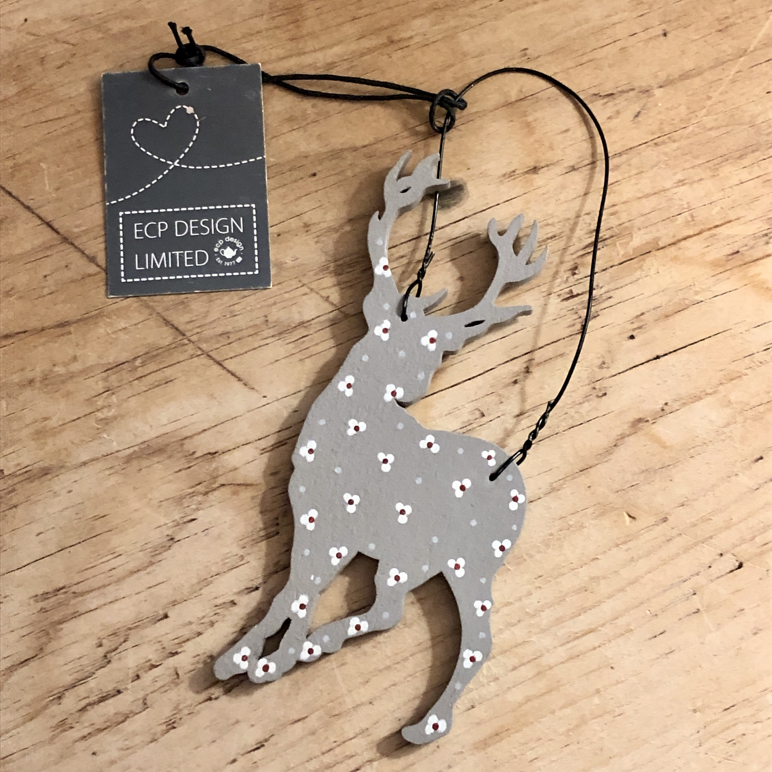 Floral grey stag.  Christmas decoration.