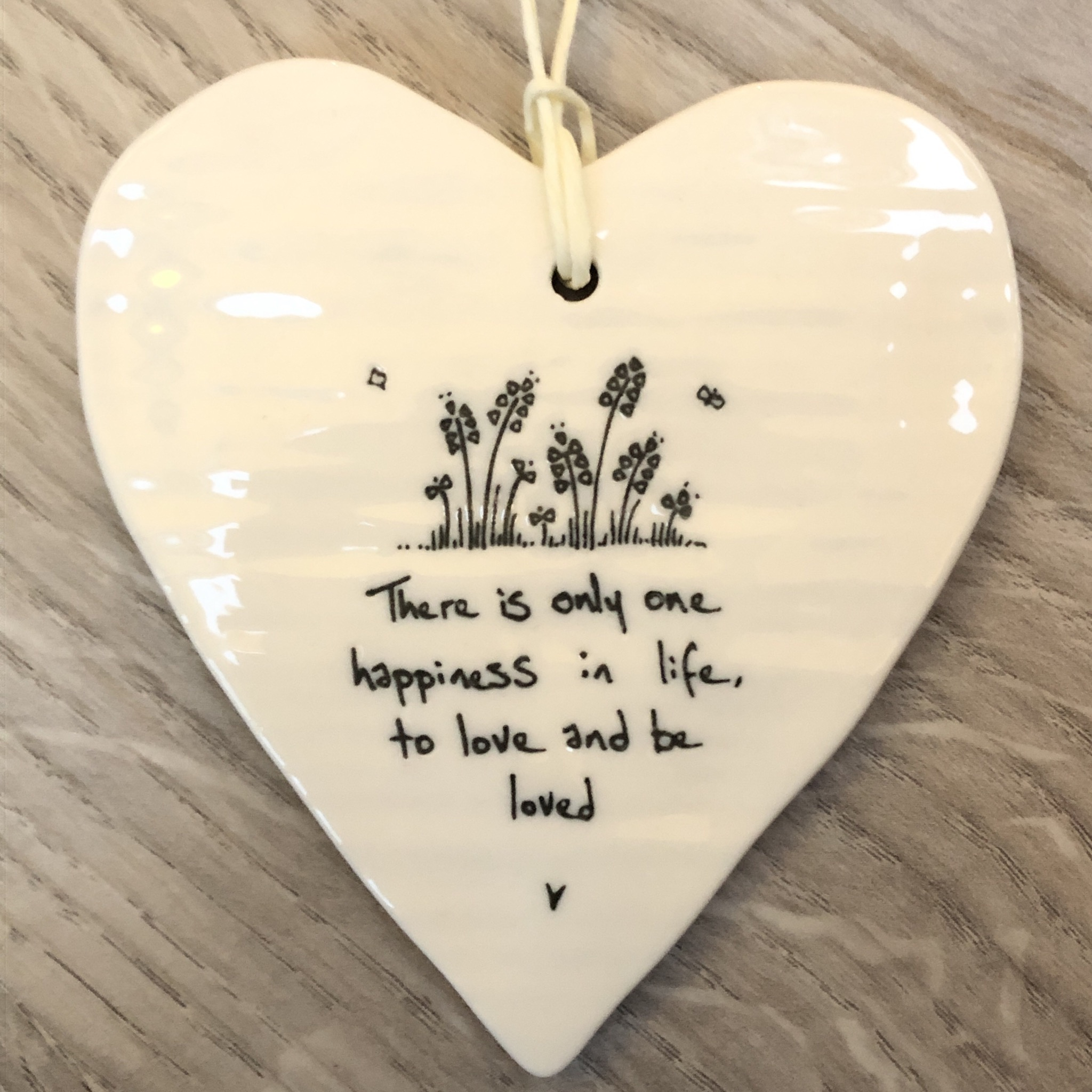 East of India porcelain hanging heart. There is only one happiness in life, to love and be loved