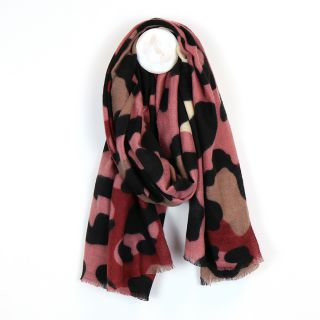 Fleecy animal print scarf in pink, red & camel. By POM