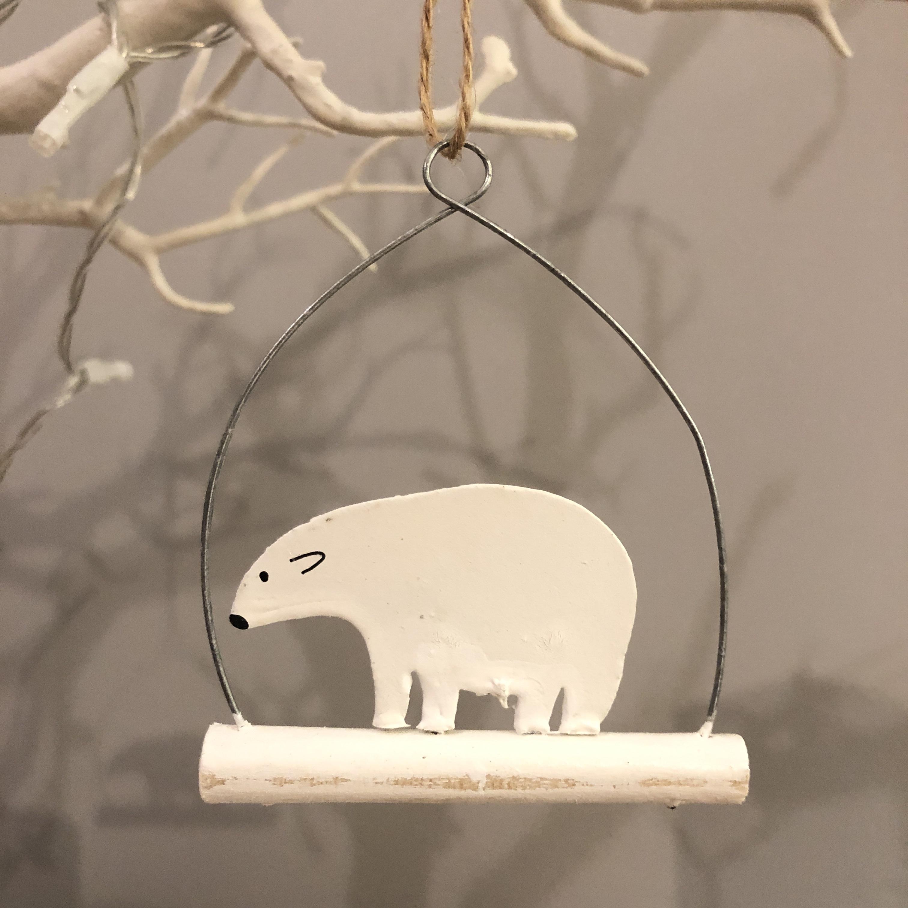 Polar bear on twig hanging Christmas decoration by shoeless joe