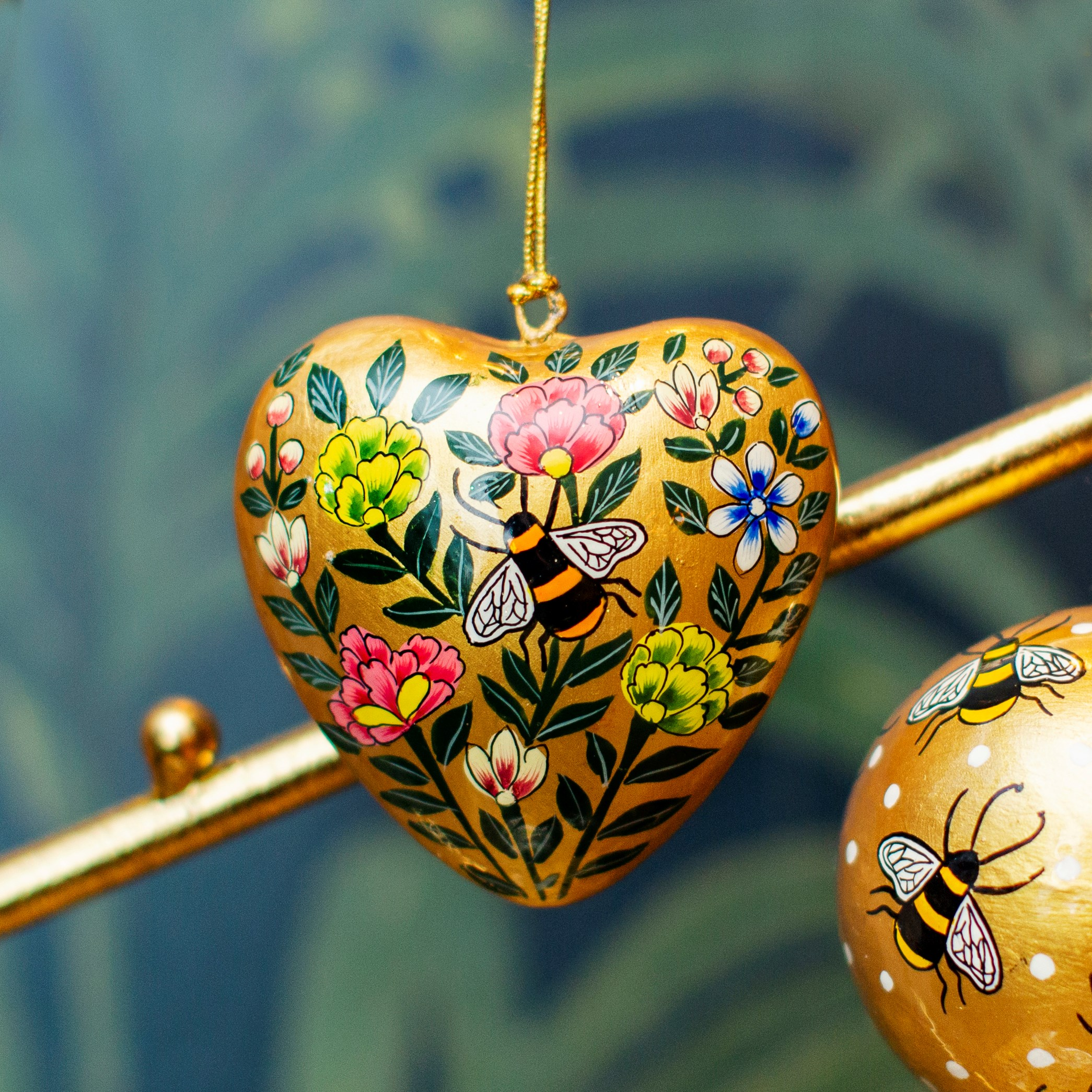 Kashmiri floral heart with Bee . Paper mache hanging decoration