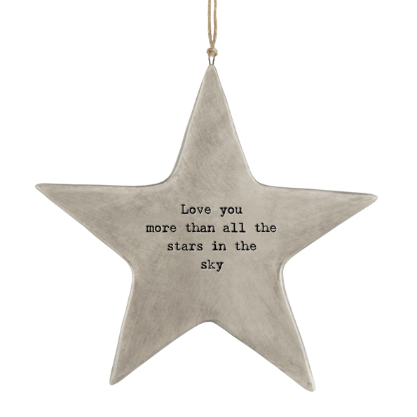 Love you more than all the stars in the sky.  Ceramic hanging star by east of India