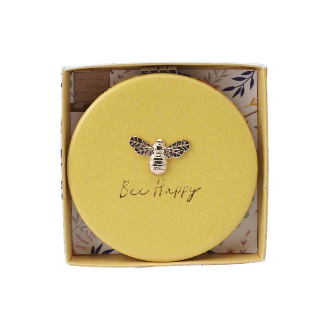 Bee Happy . Compact mirror -the beekeeper