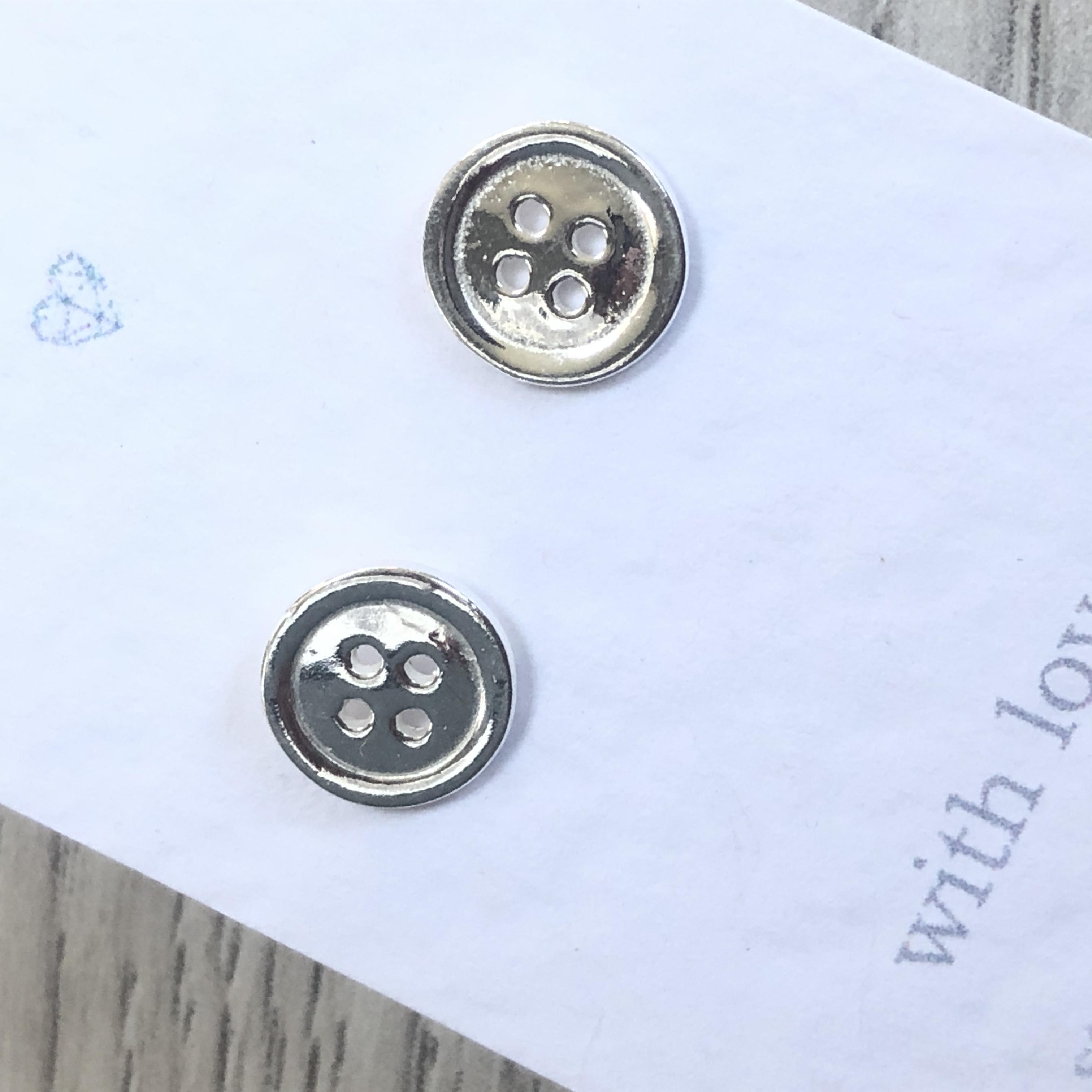 Button stud earrings in sterling silver