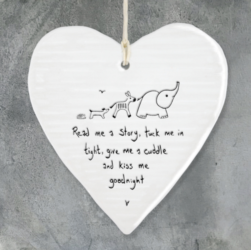 New baby gift. Read me a story, tuck me in tight, give me a cuddle and kiss me goodnight. Ceramic heart by east of India