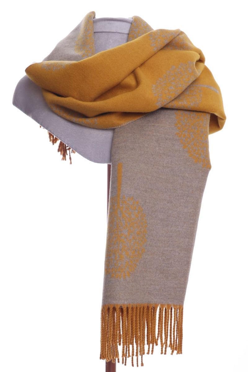 Mulberry tree fringe mustard and beige wrap/scarf