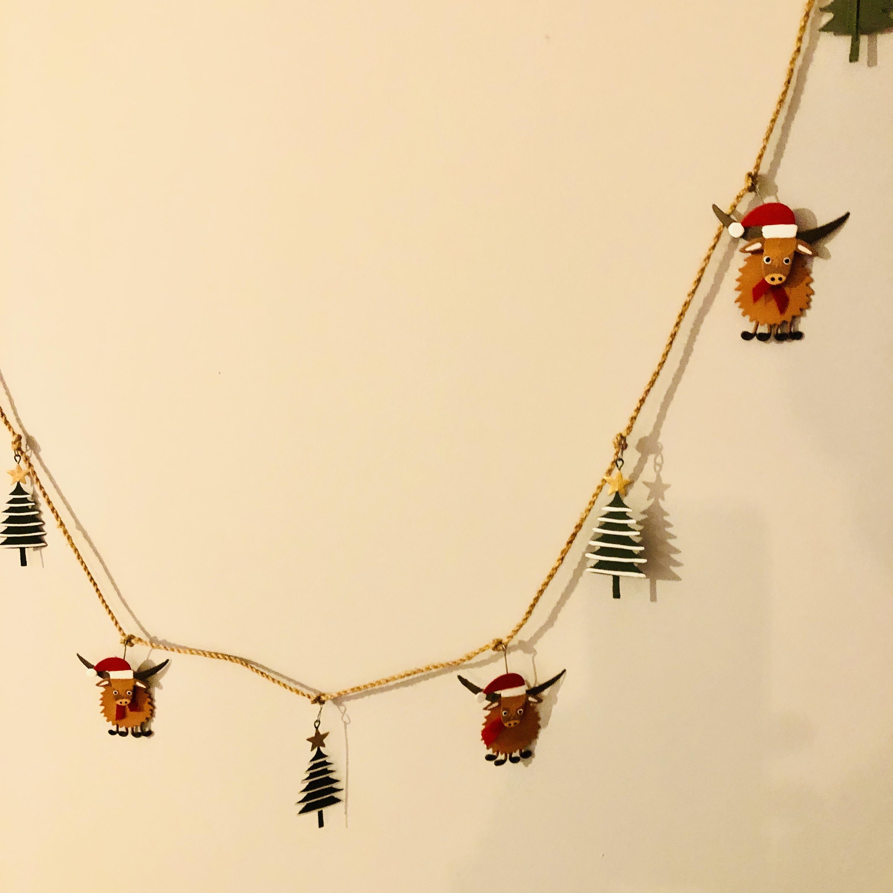 Highland cow & Christmas tree hanging garland.  Christmas decoration by shoeless joe