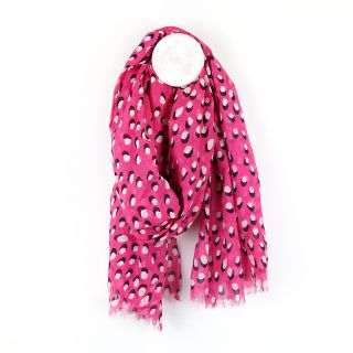 Bright pink scarf with white dot and shadow print by POM