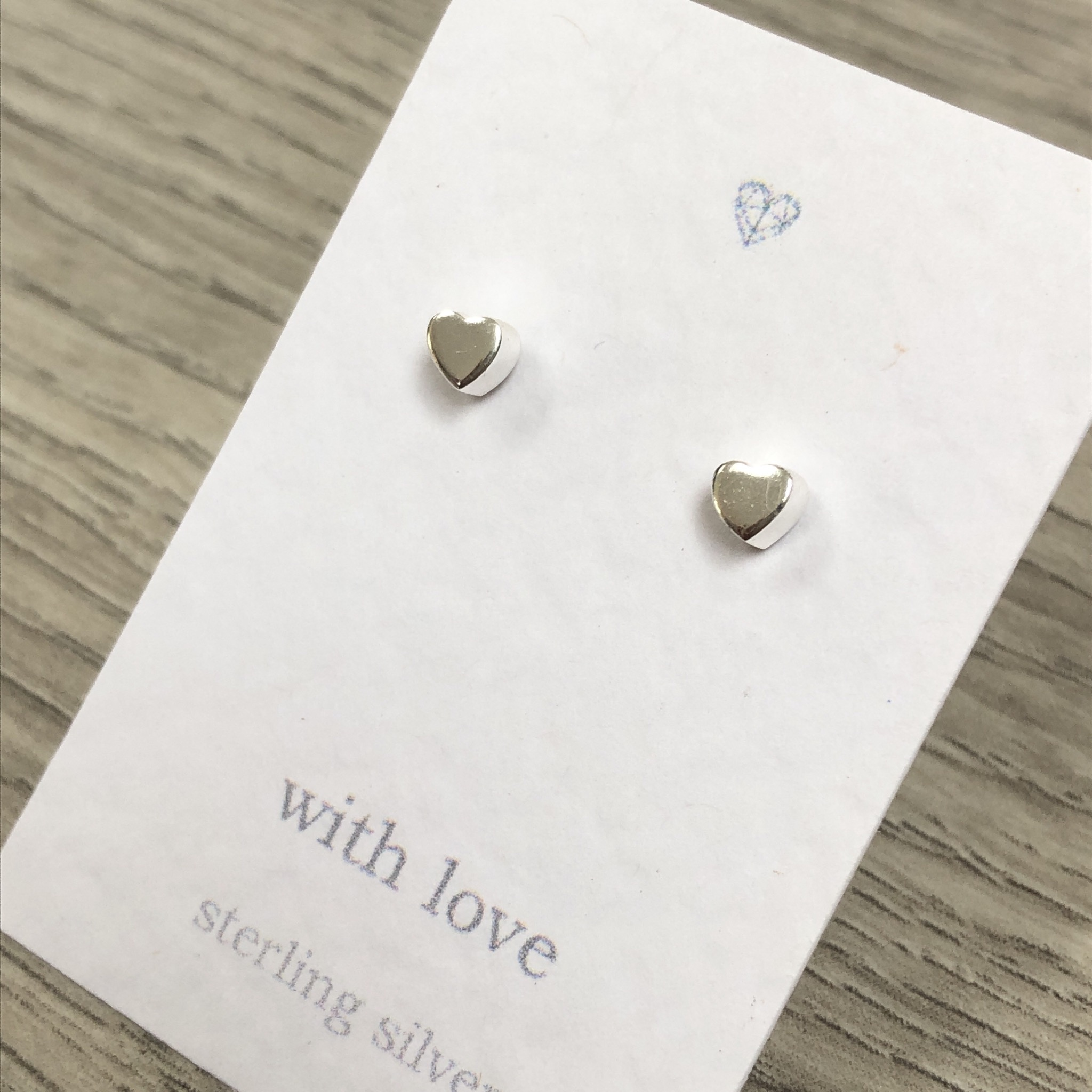 Chunky heart sterling silver stud earrings