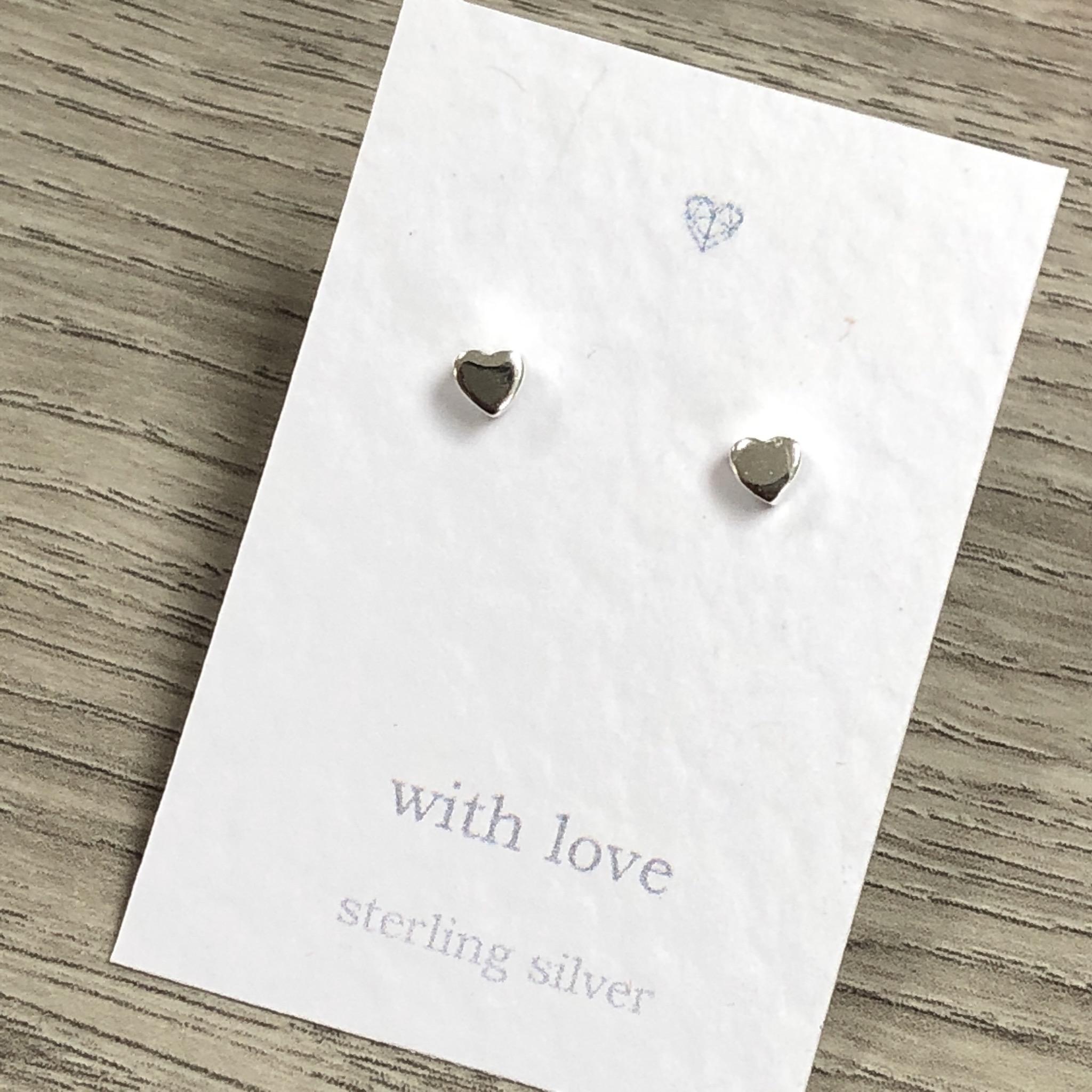 Chunky heart sterling silver stud earrings