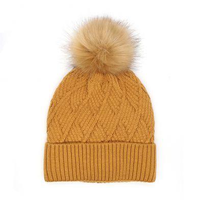 Caramel diamond knit hat with faux fur bobble By Pom