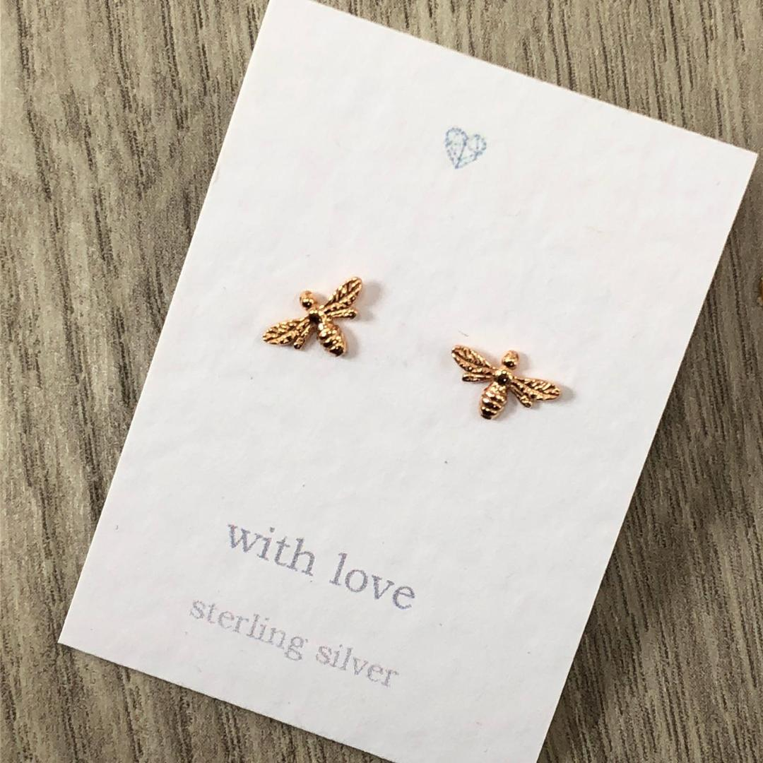 Bee stud earrings rose gold plated