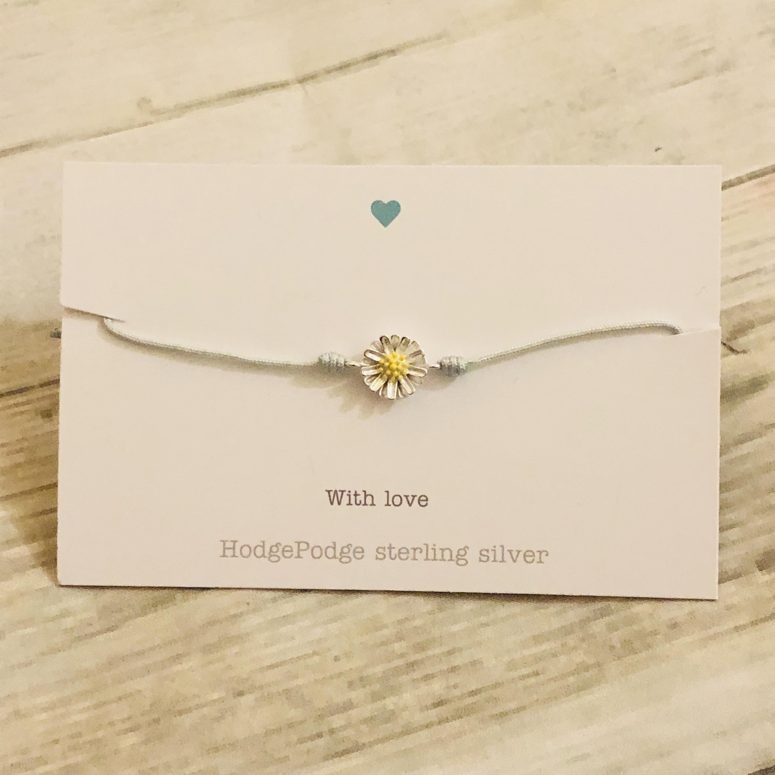 Sterling silver daisy adjustable cord bracelet