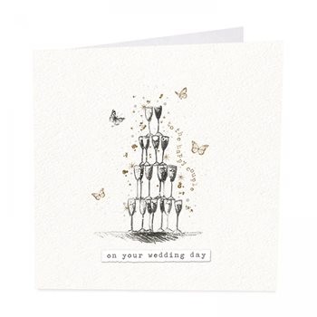 Champagne tower wedding card