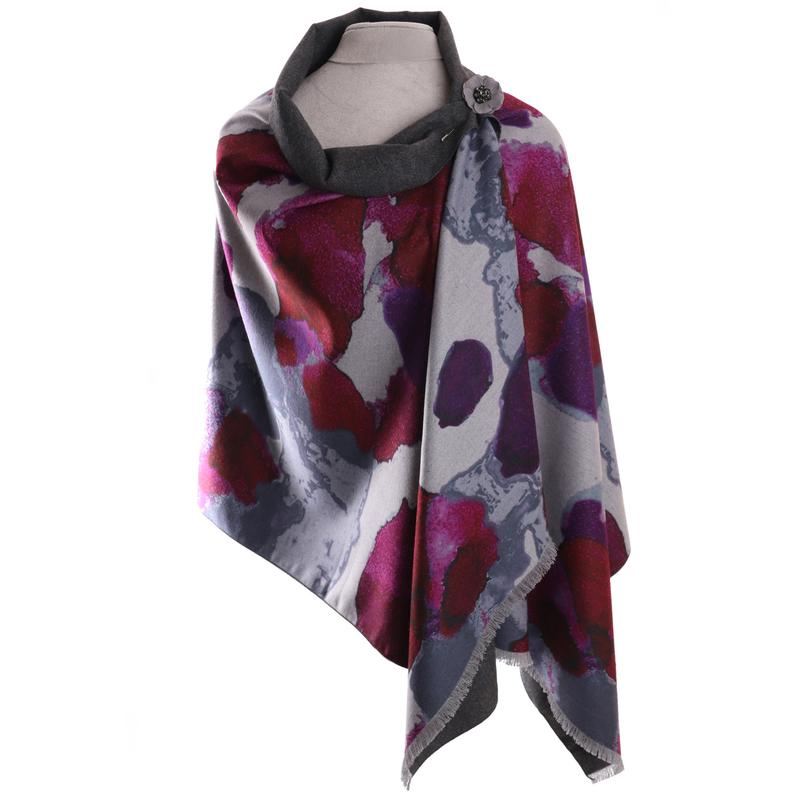 Luxury wrap/scarf abstract magenta by Zelly