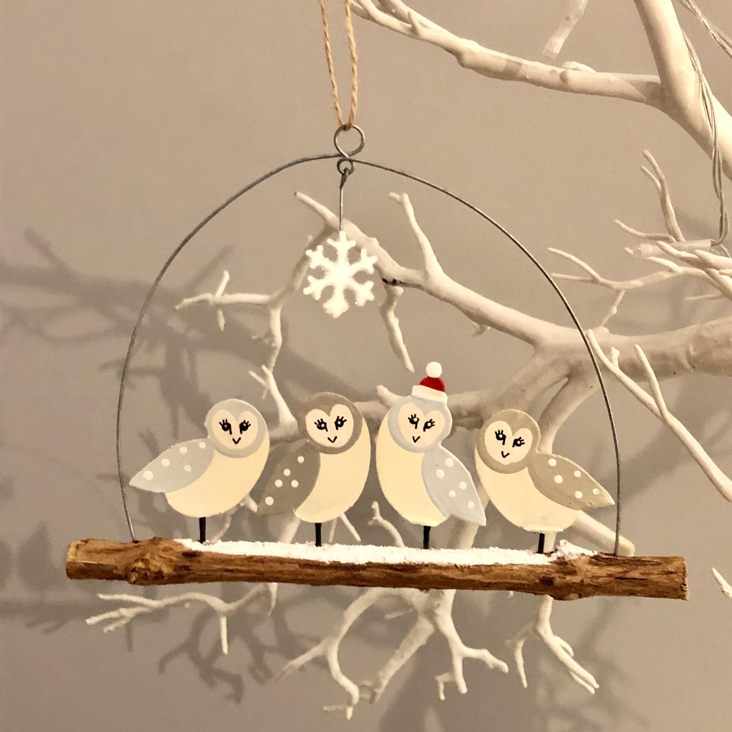 Barn owls on twig hanging decoration by shoeless joe