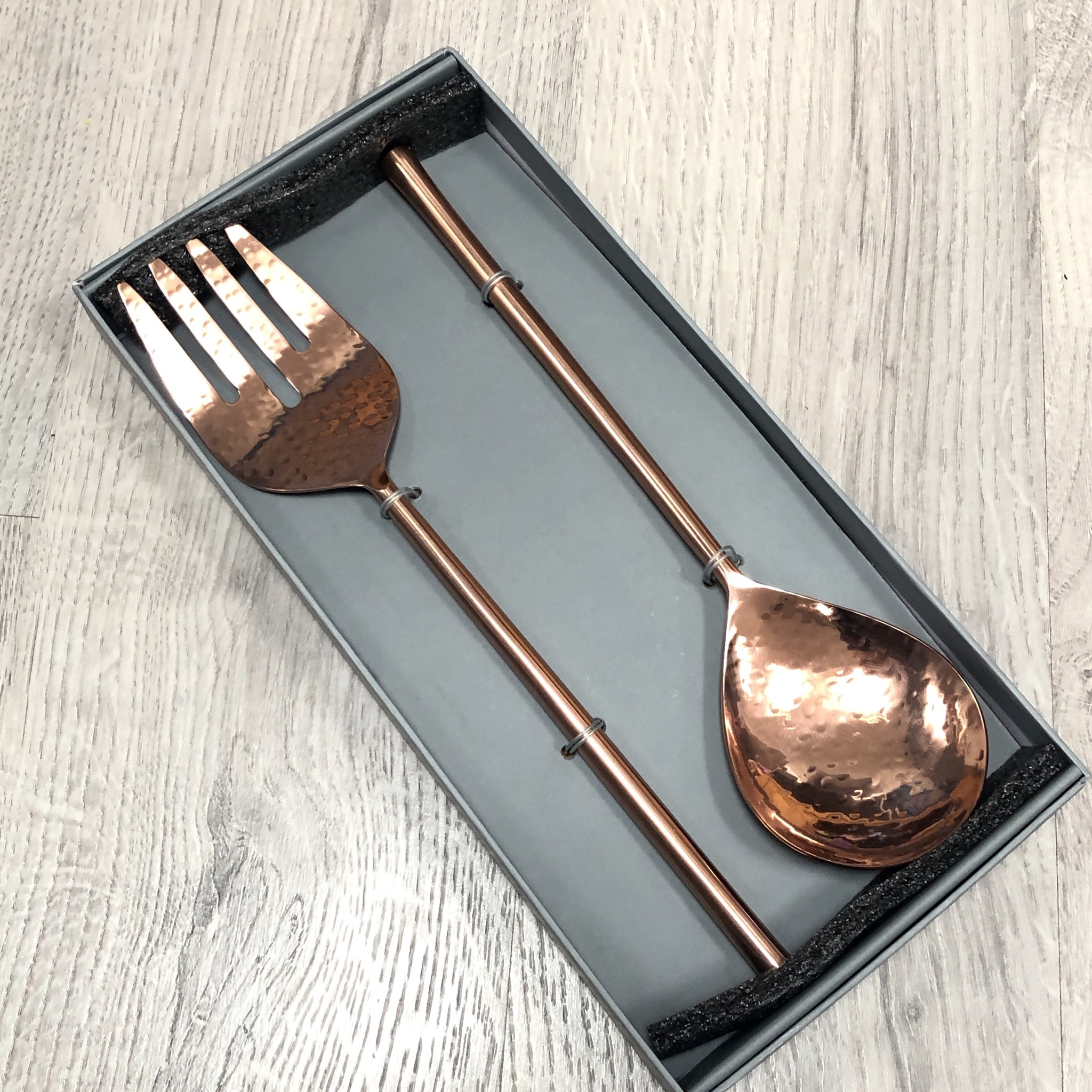 Rose gold salad servers