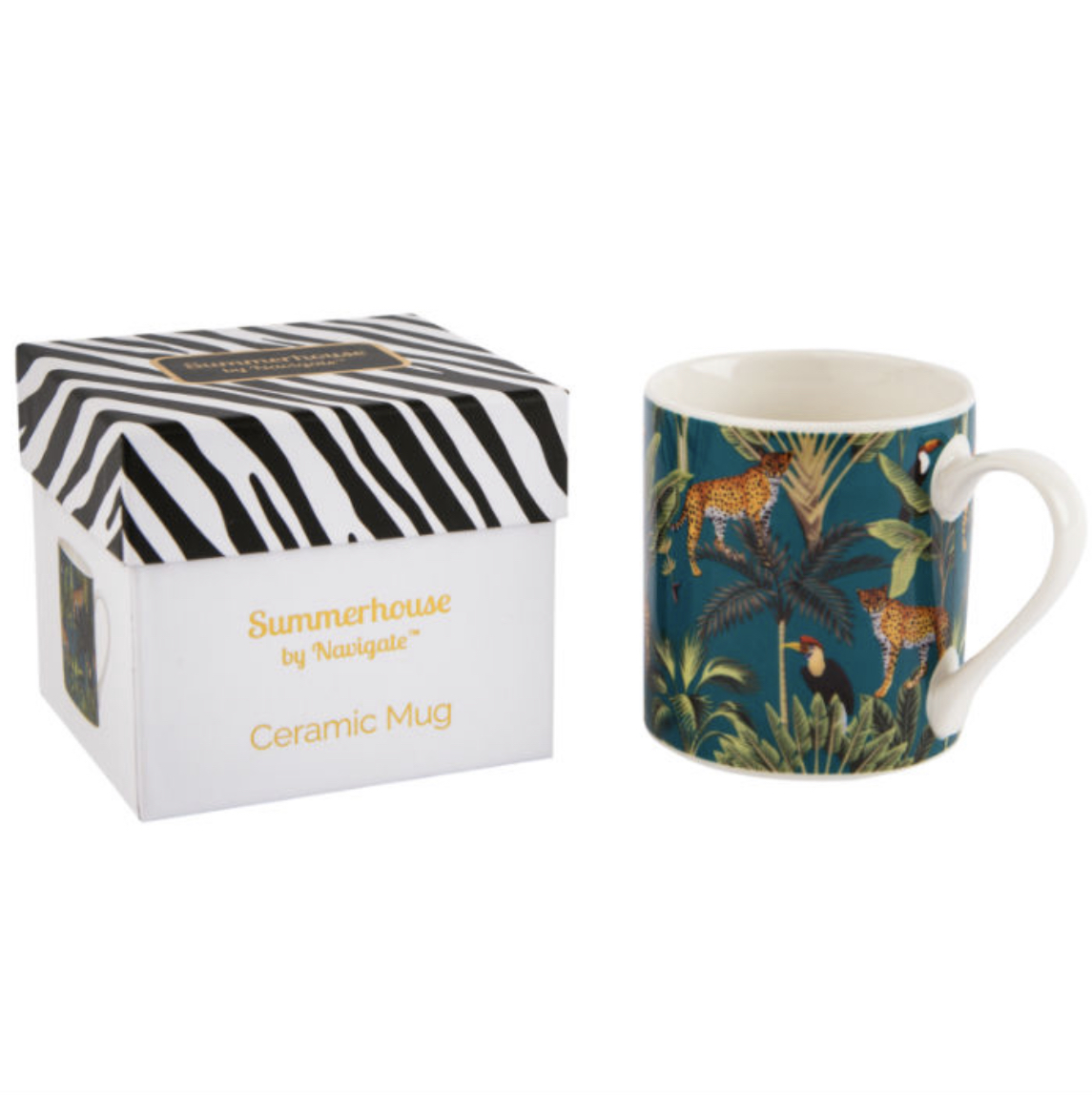 CHEETAH & TOUCAN MUG IN GIFT BOX. JUNGLE DESIGN HOMEWARE