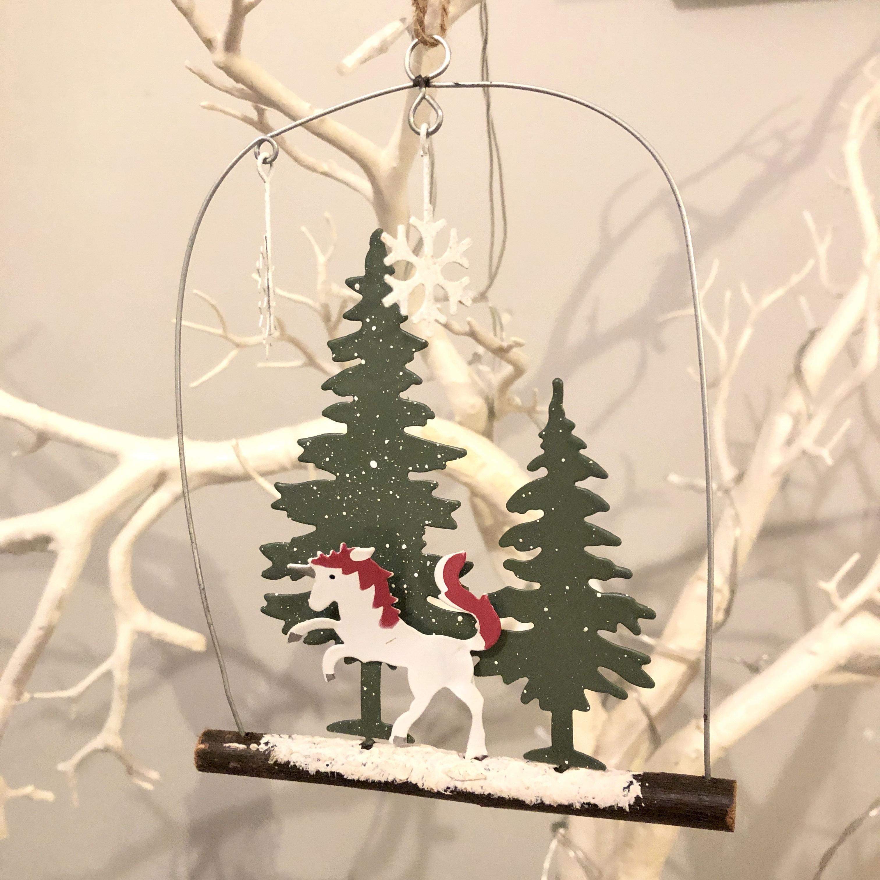 Unicorn in the trees hanging Christmas decoration by shoeless joe