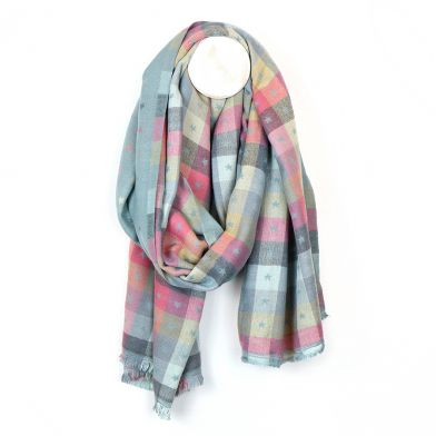 Pale aqua & pastel check mini star scarf by POM
