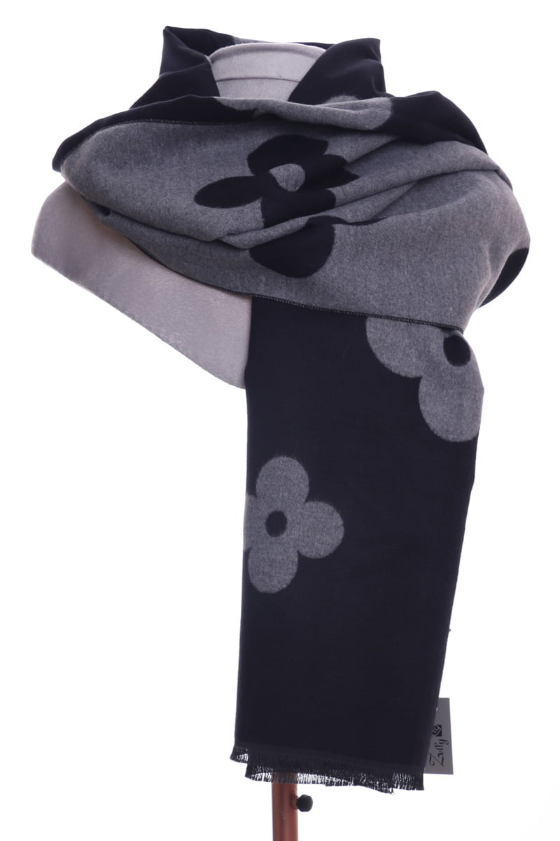 Black & grey daisy design large wrap/scarf by Zelly