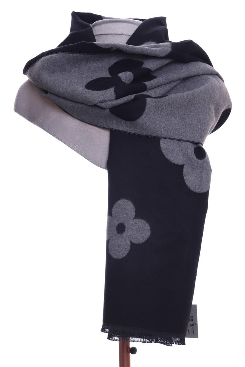 Black & grey daisy design large wrap/scarf by Zelly