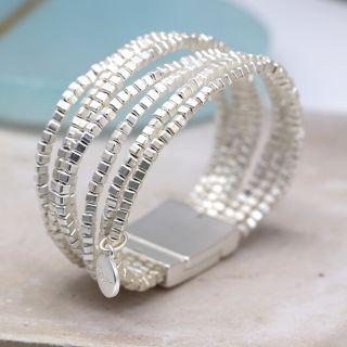 Multi strand matt silver beads bracelet By POM