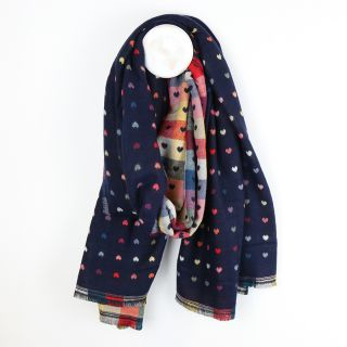 Navy and multi colour scarf with little jacquard hearts by POM