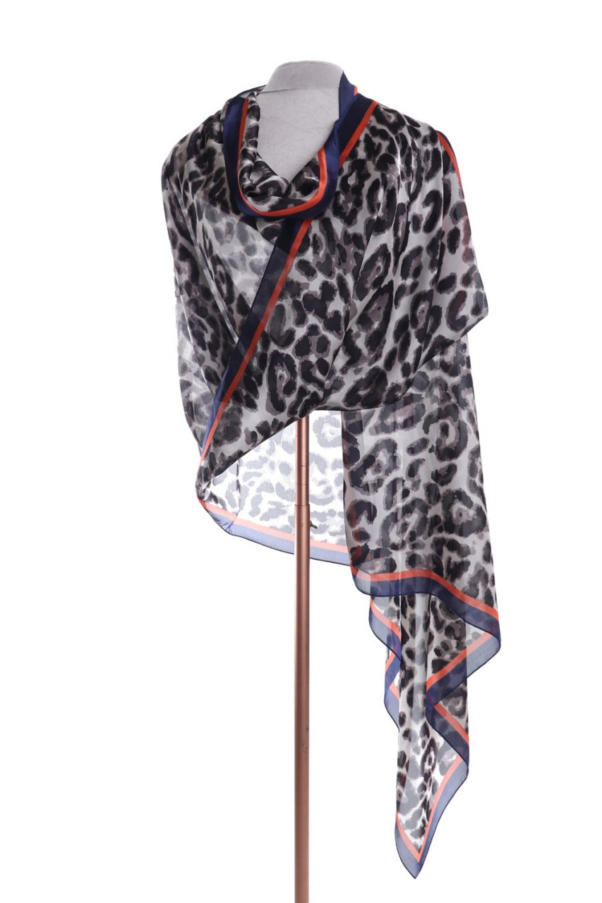Satin scarf leopard print with navy and orange boarder by Zelly