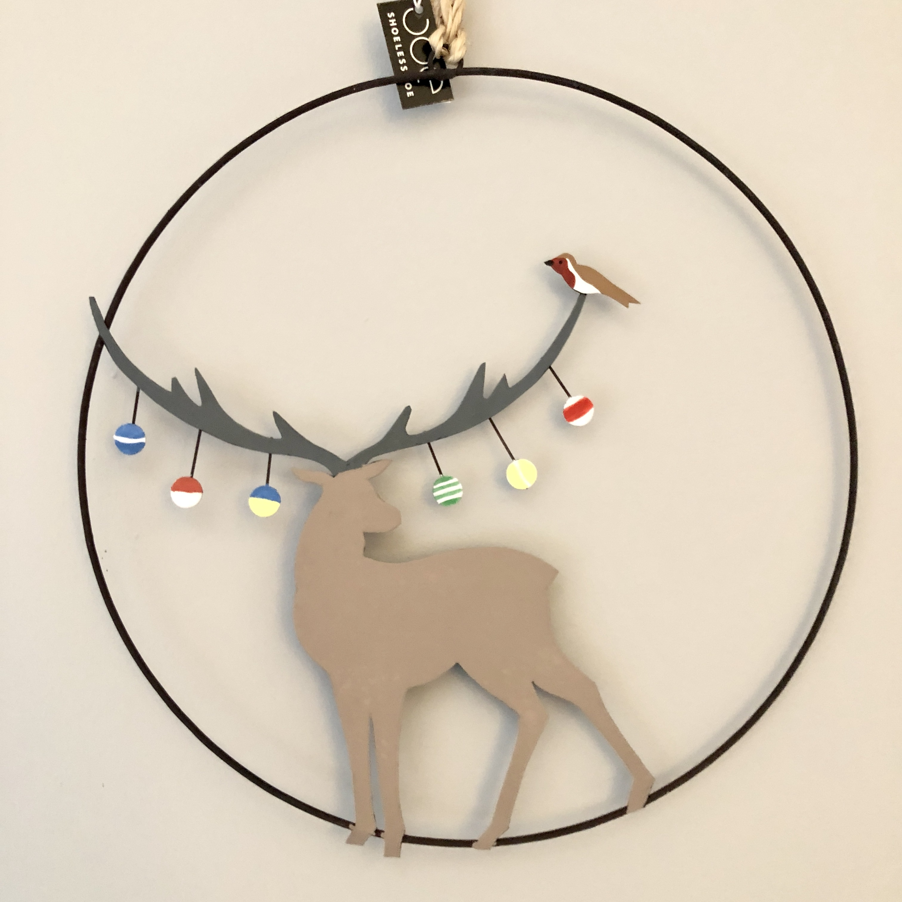Bauble stag wreath Christmas decoration by shoeless joe