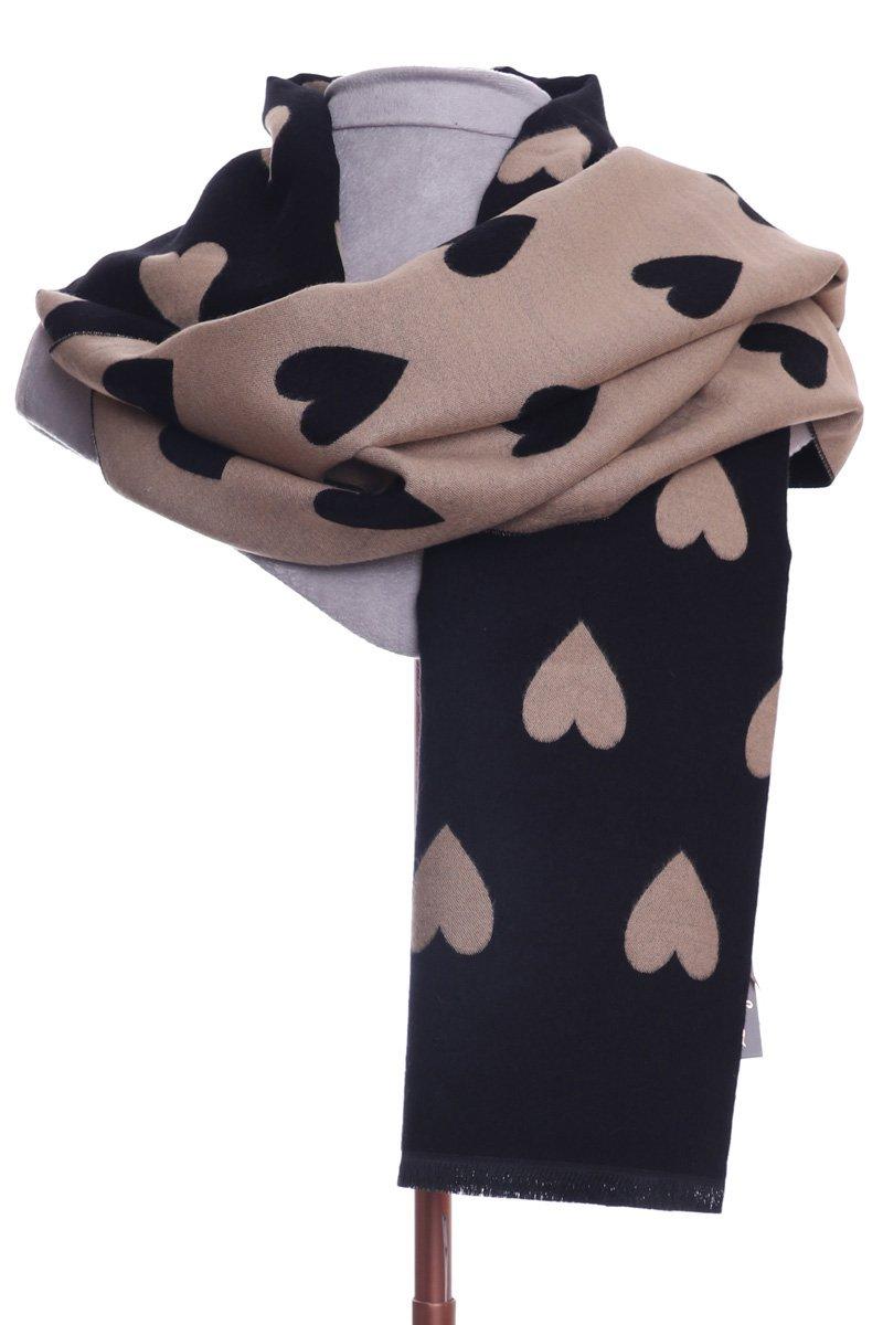 Luxury reversible heart scarf black & beige.  By Zelly