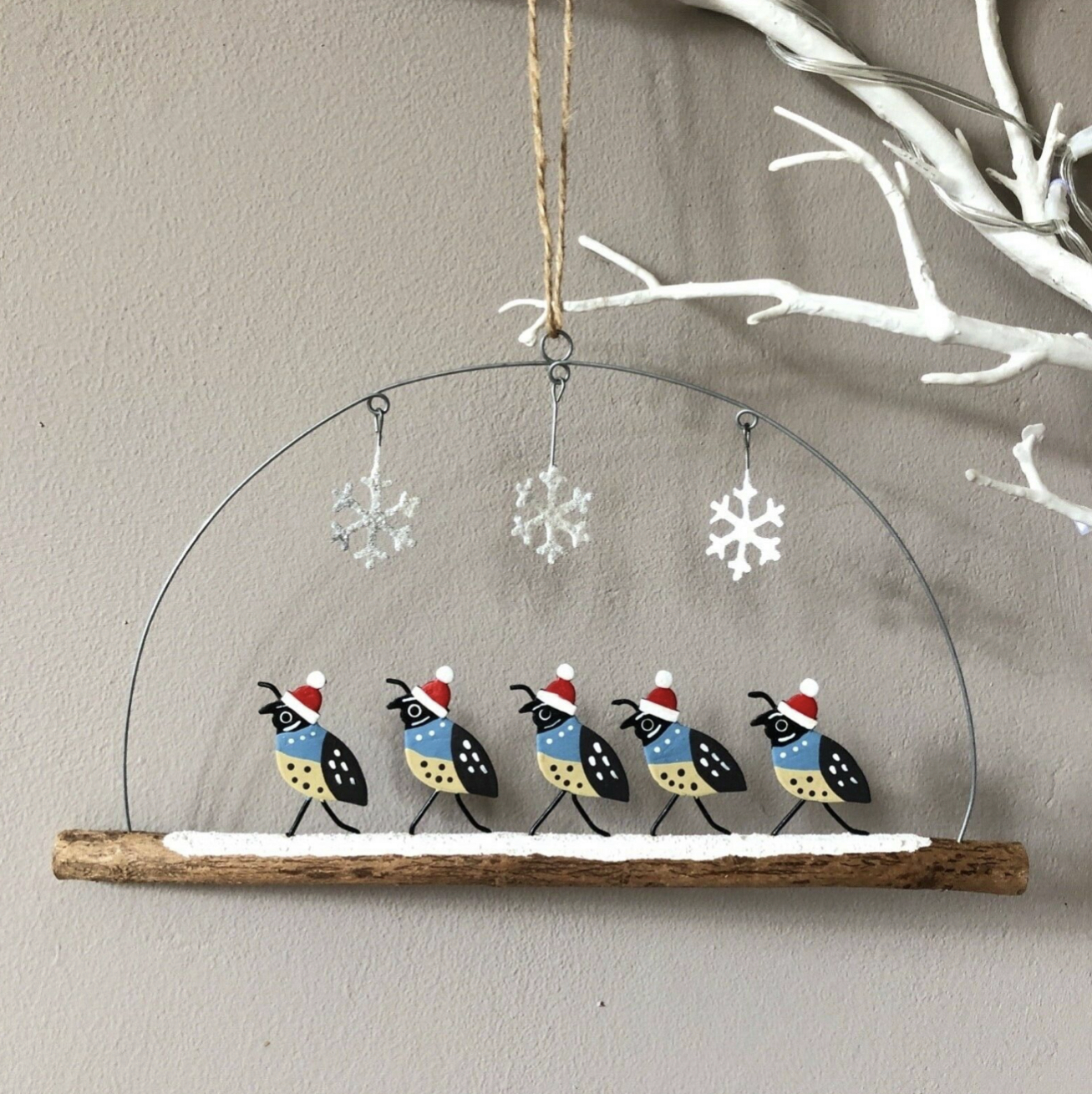Family of Quails  on a Christmas Day walk hanging decoration by shoeless joe
