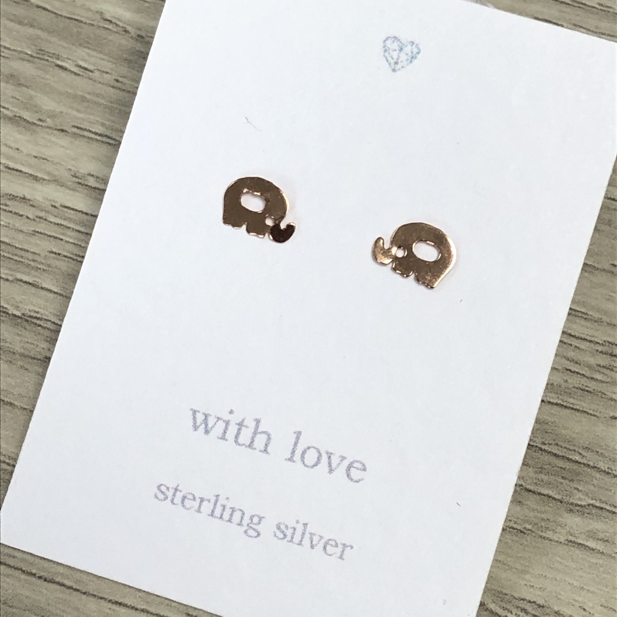 Elephant stud earrings rose gold plated