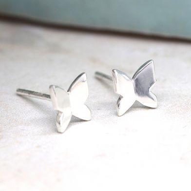 Tiny butterfly sterling silver stud earrings
