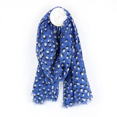 Blue scarf with white dot and shadow print by POM