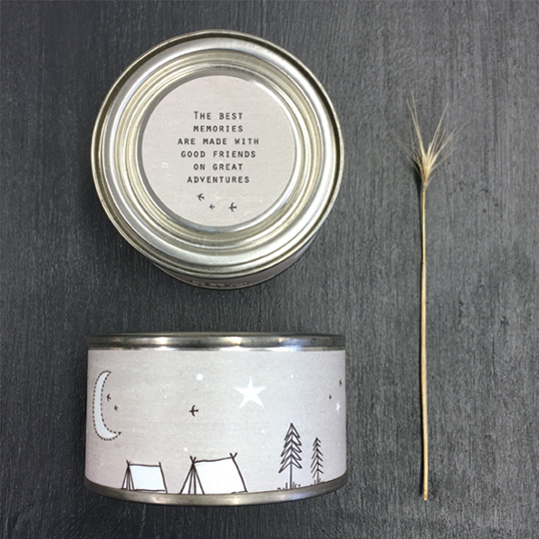 'The best memories are made with good friends on great adventures' tinned candle by East of India