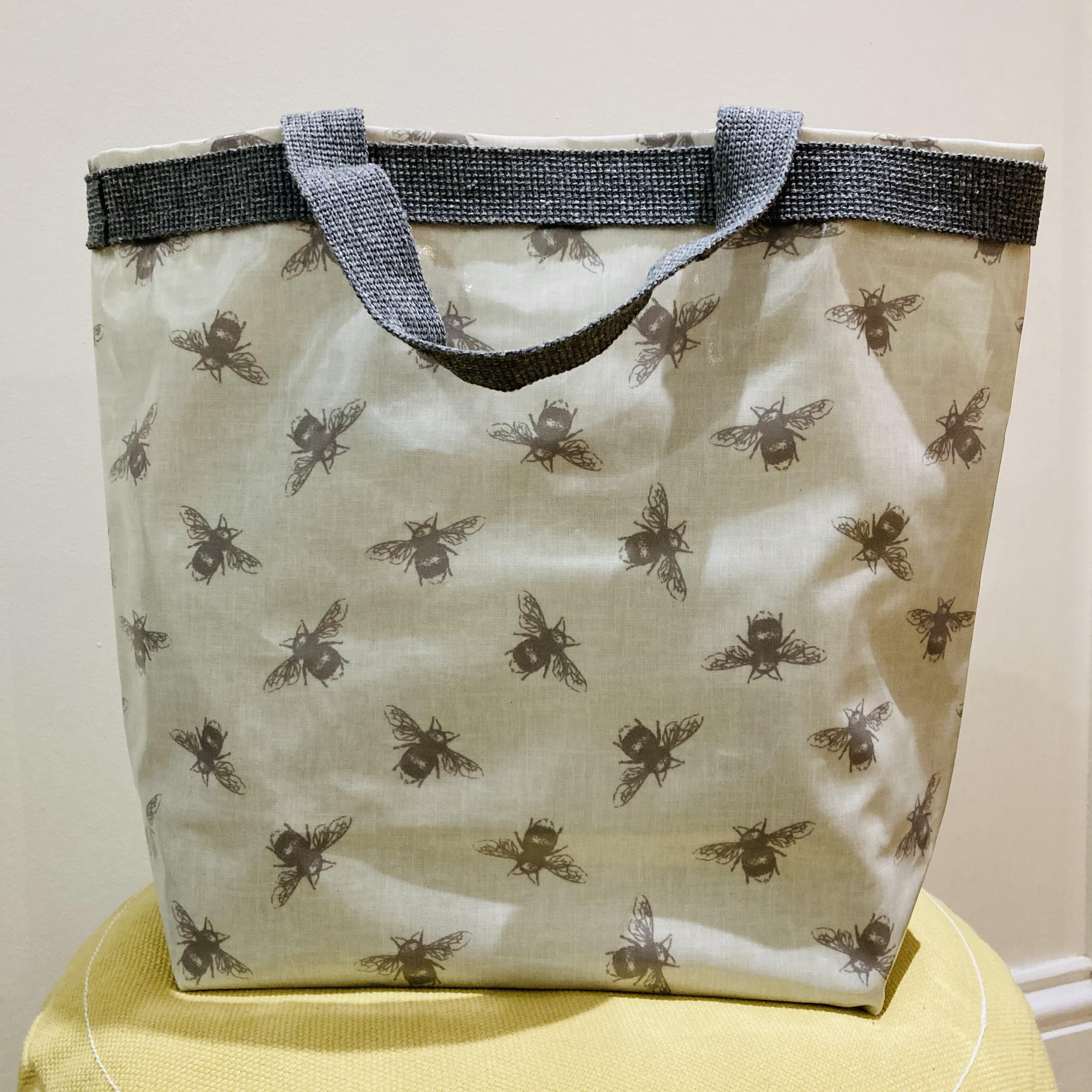 Bee print vinyl tote bag by Stella's Stitchcraft