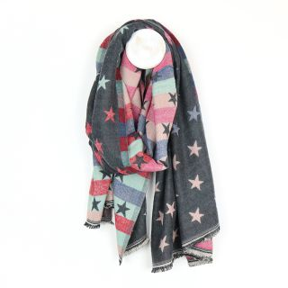 Grey and pastel reversible jacquard star scarf By POM