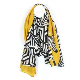 Graphic zebra print scarf with a mustard border by POM