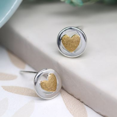 Circle & gold heart sterling silver earrings