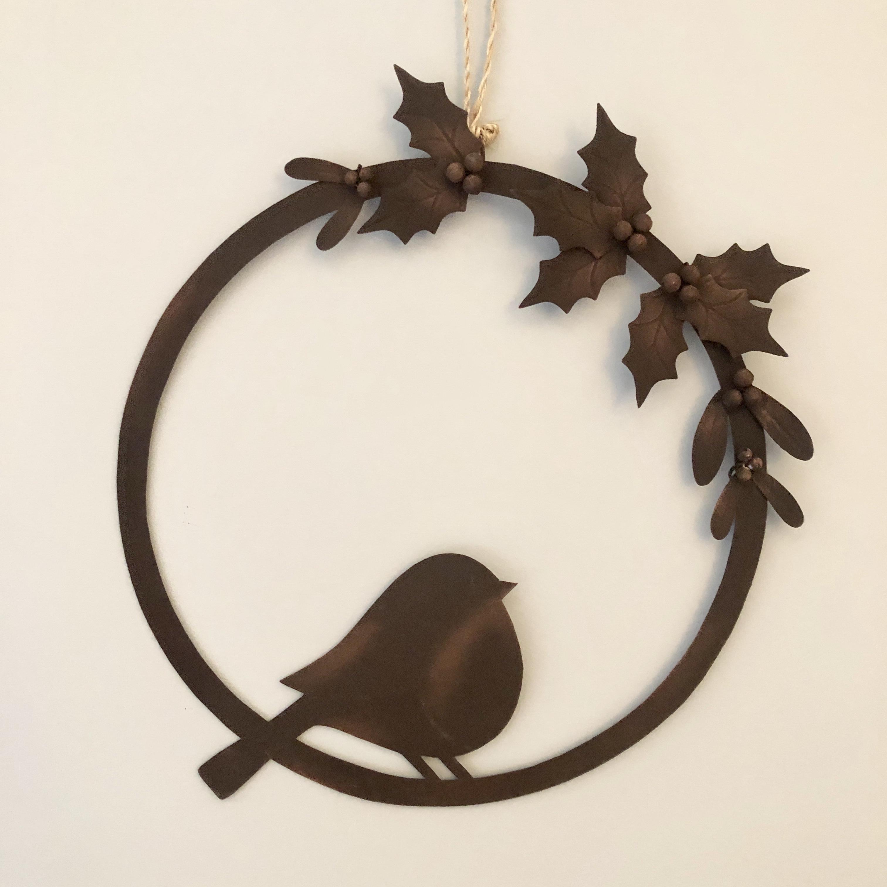 Yuletide robin wreath Christmas decoration by shoeless joe