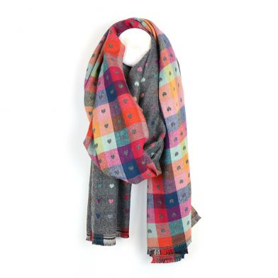 Grey and multi colour scarf with little jacquard hearts by POM
