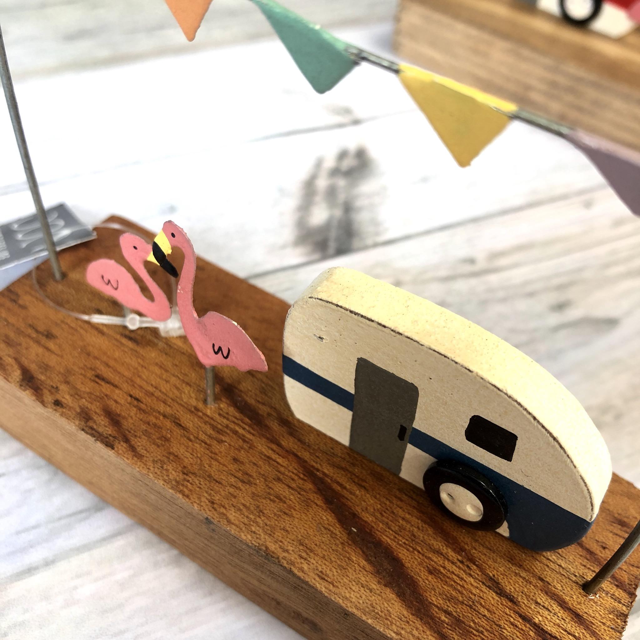 Retro caravan with flamingos by shoeless joe