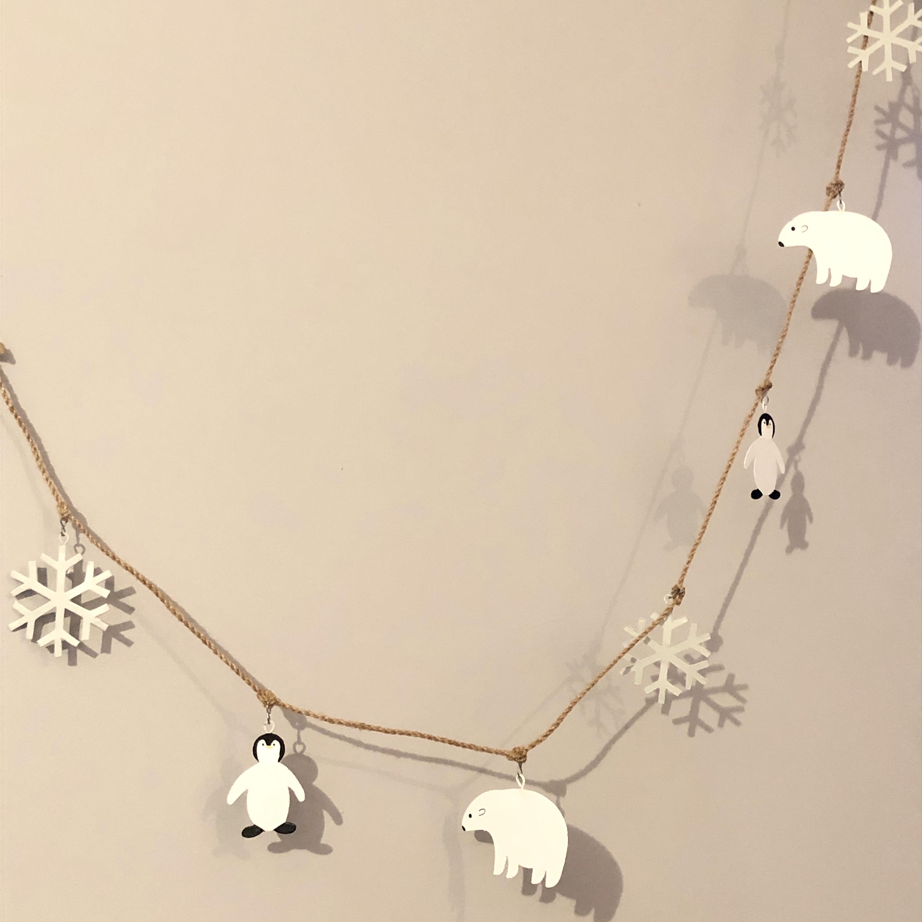 Polar bear and penguin garland, Christmas decoration by shoeless joe