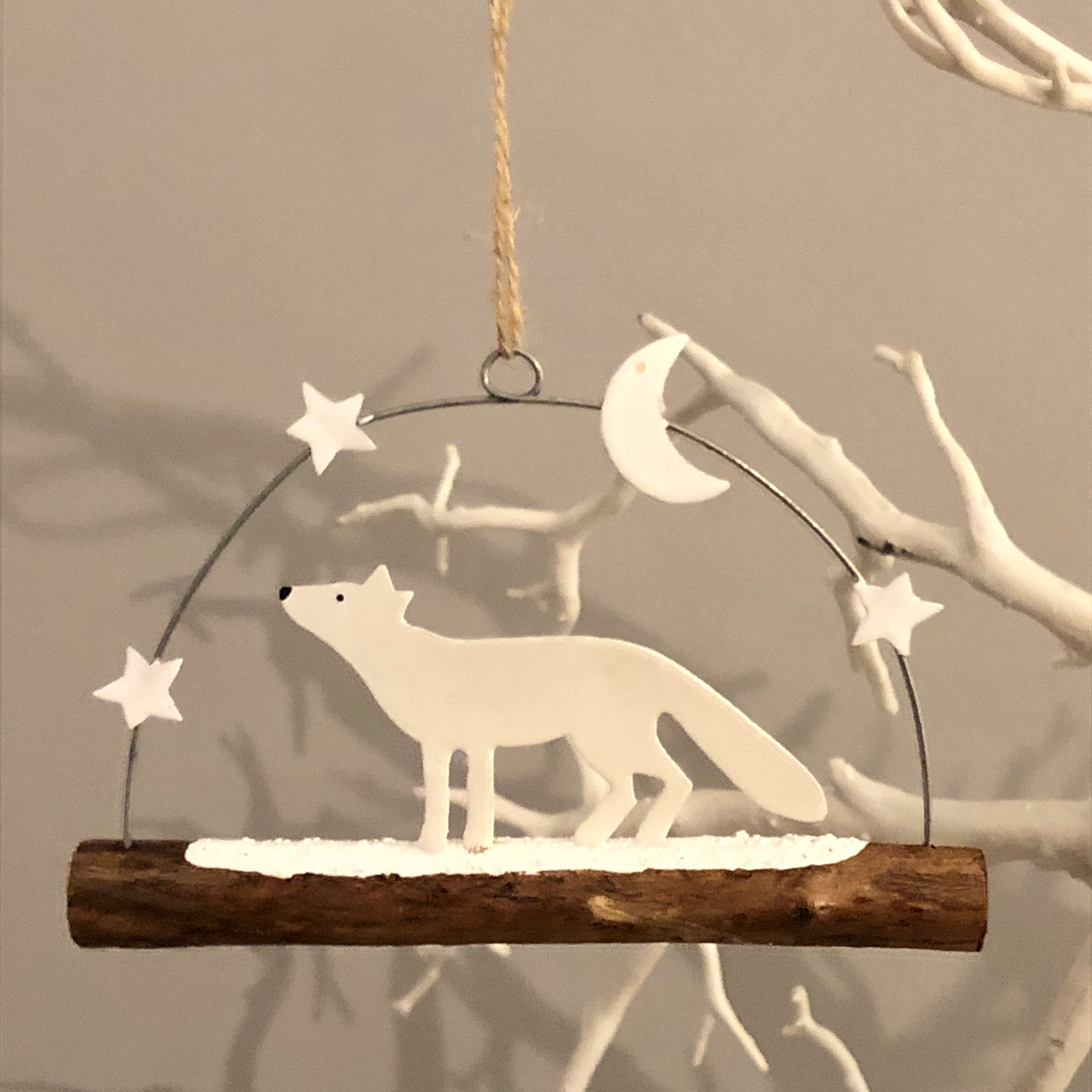 Artic fox  under the stars hanging Christmas decoration by shoeless joe